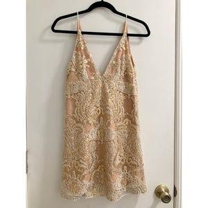 Free People Night Shimmers Mini Dress (Cream)